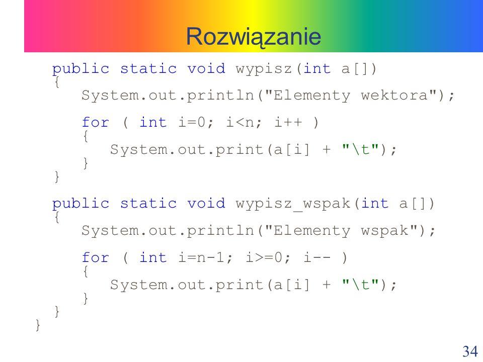 Rozwiązanie public static void wypisz(int a[]) {